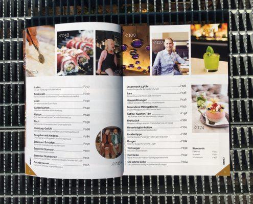 Italien, Frankreich, Fleisch, Fisch, Ausgehen mit Kindern, Bars, Neueröffnungen, Unverträglichkeiten, Insidertipps – Ein Blick ins Inhaltsverzeichnis.
