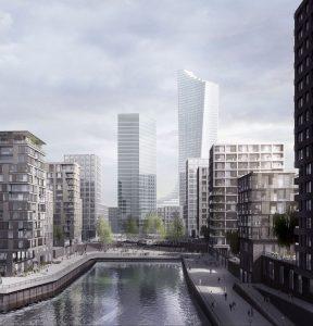 Up in the air: In Hamburg dürfte in Zukunft mehr in die Höhe gebaut werden, wie hier in der östlichen HafenCity; Illustration: Hosoya Schaefer/Chipperfield