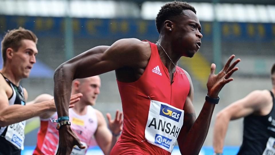 Owen Ansah im 200 Meter Halbfinale bei den Deutschen Meisterschaften 2021; Foto: WITTERS