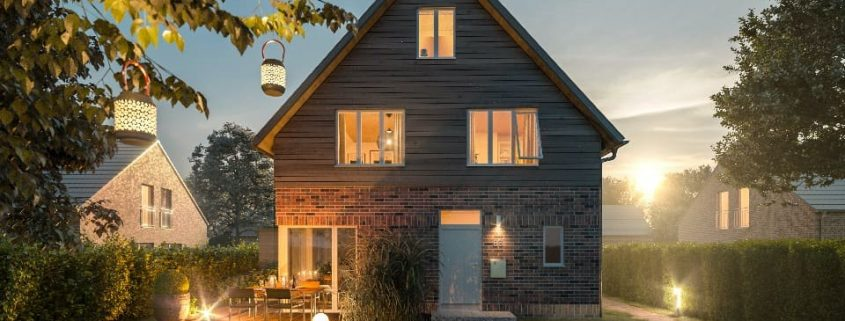Eine von vier ökologischen Doppelhaushälften in Alt-Nettelnburg; Foto: Grünwärts