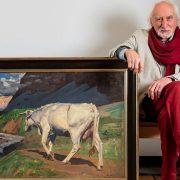 Wolfgang Werkmeister neben einem Gemälde von Benito Rebolledo Correa; Foto: Bertold Fabricius
